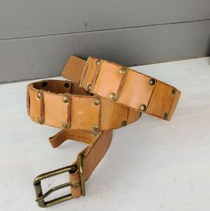 Club Monaco Studded Squares of Leather Belt
